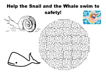 Help the Snail and the Whale swim to safety maze puzzle