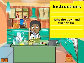 Kitchen and cooking vocabulary. Game.