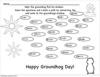 Help the groundhog find his shadow- odd/even math with writing prompt.