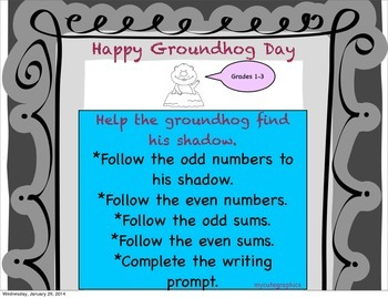 Help the groundhog find his shadow- odd/even math with wri