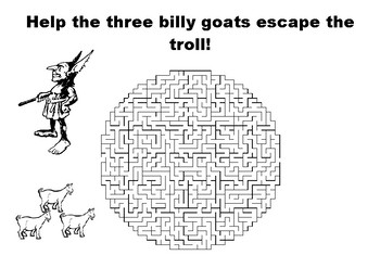 Help the three billy goats escape the troll maze puzzle