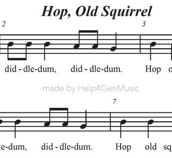 Help4GenMusic's Recorder Karaoke - Hop Old Squirrel (printed music - PDF)