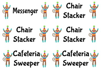 Helper Chart Labels-Sock Monkey Theme-Both Address & Shipping Size Included