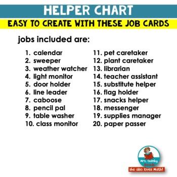 Classroom Jobs Printable | Helper Chart | Responsibility | Classroom Management