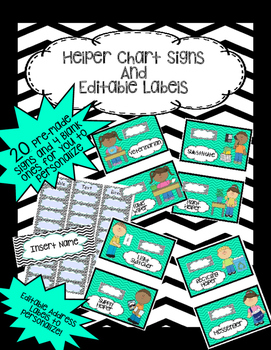 Helper Chart with Pictures & Editable Labels- Teal, Black