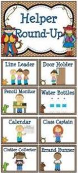 Helper Round-Up Western Classroom Jobs Display & Clip Chart