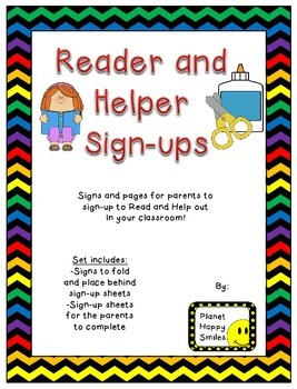 Helper and Reader Sign-ups ~ Chevron Rainbow Print with black background