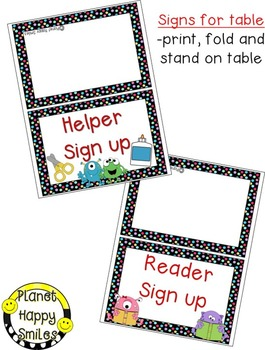 Helper and Reader Sign-ups, Monster theme