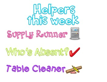 Helpers this week are:
