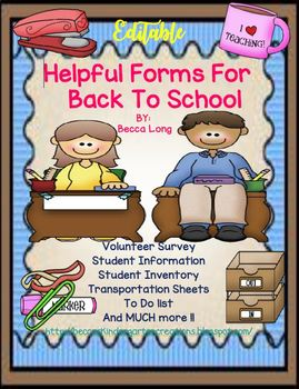 Helpful Back To School Forms - EDITABLE!!