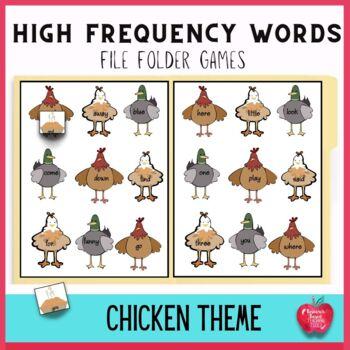 Sight Word File Folder Games: Helpful Barnyard Friends