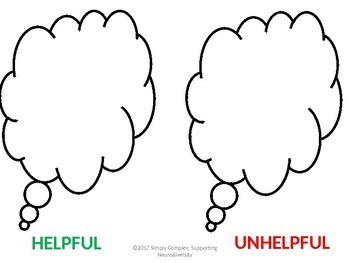 Helpful Unhelpful Thought Activity; A CBT lesson to Reinforce Positive Thoughts