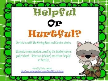 Helpful or Hurtful Choices (Raccoon Theme) Behavior Sort for Pocket Chart