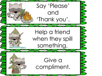 Helpful or Hurtful Choices (Raccoon Theme) Behavior Sort for Pocket Chart