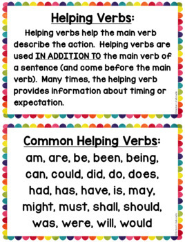 Helping Verbs, Linking Verbs, and Action Verbs: Task Cards and Anchor Charts