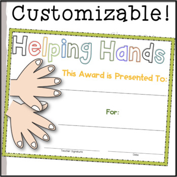Helping Hand Award (Superlative) ~EDITABLE!