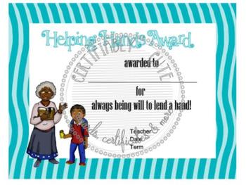 Helping Hands Certificate
