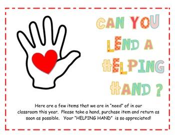 Helping Hands Classroom Wish List