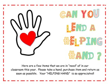 Helping Hands Classroom Wish List