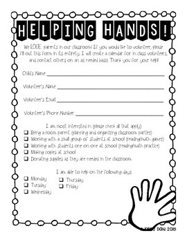 Helping Hands: Parent Volunteer Forms