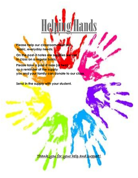 Helping Hands Poster for use at Open House