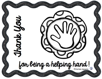 Helping Hands Thank You Notes B/W Version
