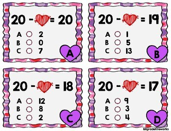 Helping Hearts..Addition/Subtraction TASK CARDS