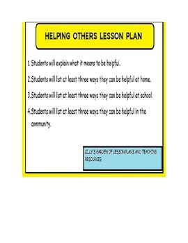 Helping Others Lesson Plan