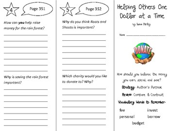 Helping Others One Dollar at a Time Trifold - 3rd Gr Literacy by Design Theme 10