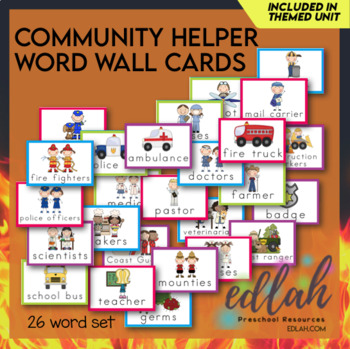 Helping Our Community Word Wall Cards (set of 14)