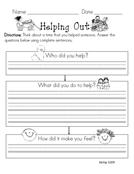 Helping Out pre-writing graphic organizer