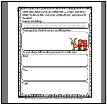 December Narrative Writing- Helping a Reindeer or an Elf In Santa's Workshop
