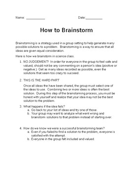 Helping Students Brainstorm