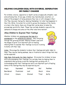 Helping Students Deal with a Divorce or Family Change-3 activities