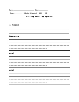 Opinion Writing Using Visual Organizers and Templates: Special Education