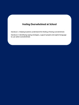 Helping Students who Feel Overwhelmed at School