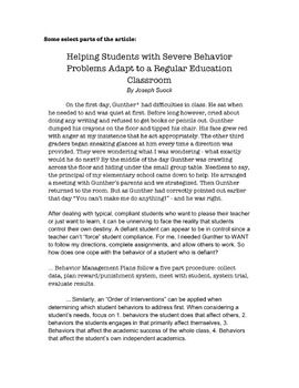 Helping Students with Severe Behavior Problems Adapt to School