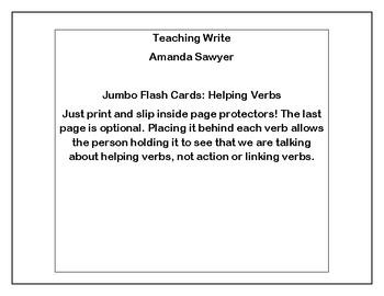 Helping Verb Jumbo Flash Cards