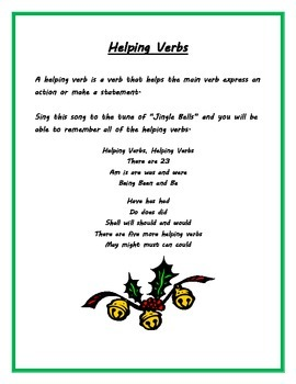 Helping Verb Song Worksheets Teachers Pay Teachers