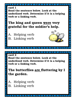 Helping Verb vs. Main Verb Task Cards