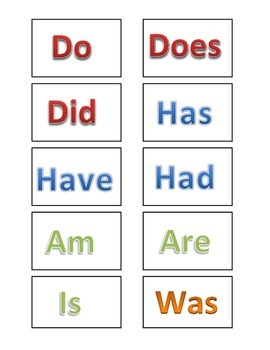 Helping Verbs! (Business card size printable)