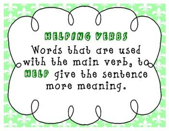 Helping Verbs Charts and Song Fleur de lis