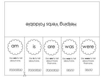 Helping Verbs Foldable and Rules Poster * Am, Is, Are, Was, Were