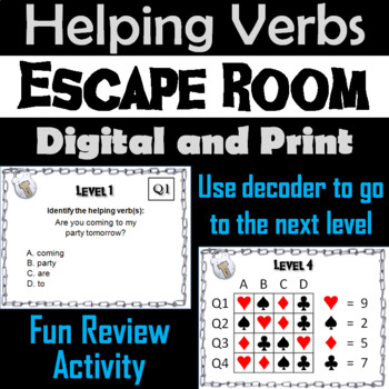 Helping Verbs: Grammar Escape Room - English