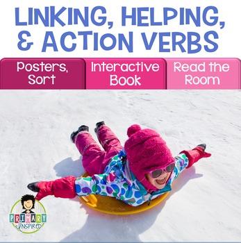 Linking Verbs, Helping Verbs, Action Verbs Activity Pack WINTER
