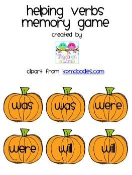 Helping Verbs Memory Game