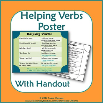 Helping Verbs Poster With Student Handout