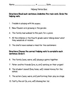 Helping Verbs Quiz