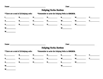 Helping Verbs Review + Scaffolded Tests