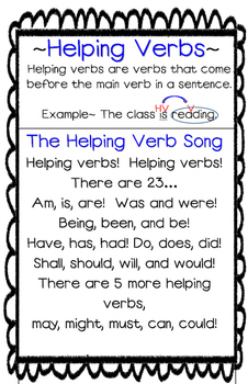 Helping Verbs Song Poster/Anchor Chart